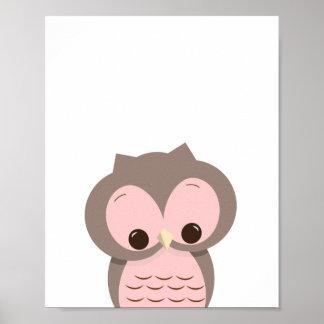 Sweet Sleepy Owl in Pink Nursery Wall Decor
