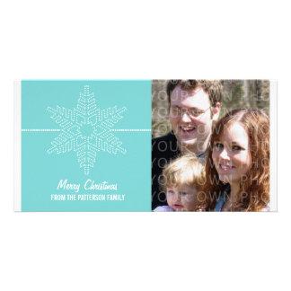 Sweet Snowflake Holiday Photo Card, Aqua