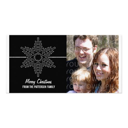 Sweet Snowflake Holiday Photo Card, Black