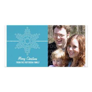 Sweet Snowflake Holiday Photo Card, Blue