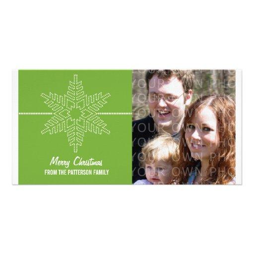 Sweet Snowflake Holiday Photo Card, Green