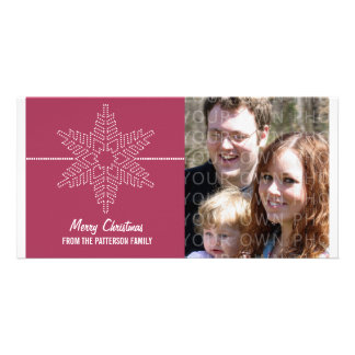 Sweet Snowflake Holiday Photo Card, Pink