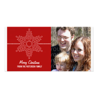 Sweet Snowflake Holiday Photo Card, Red