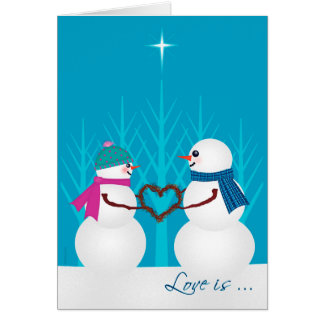 Sweet Snowman Couple First Christmas Together Greeting Card