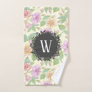 Sweet Soft Colored Spring Flowers with Monogram Bath Towel Set