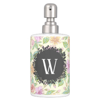 Sweet Soft Colored Spring Flowers with Monogram Bathroom Set
