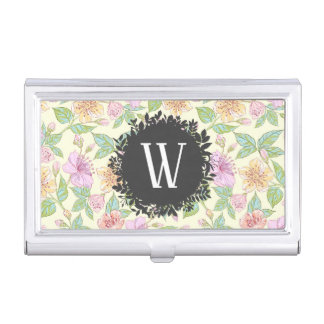Sweet Soft Colored Spring Flowers with Monogram Business Card Holder