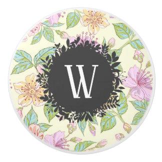 Sweet Soft Colored Spring Flowers with Monogram Ceramic Knob