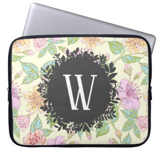 Sweet Soft Colored Spring Flowers with Monogram Laptop Sleeve
