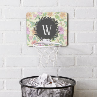 Sweet Soft Colored Spring Flowers with Monogram Mini Basketball Hoop