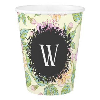 Sweet Soft Colored Spring Flowers with Monogram Paper Cup