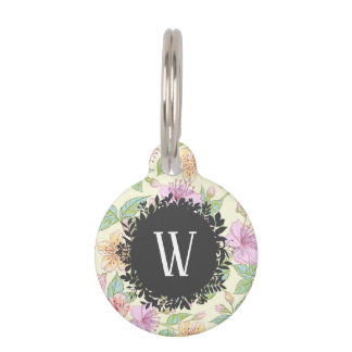 Sweet Soft Colored Spring Flowers with Monogram Pet ID Tag