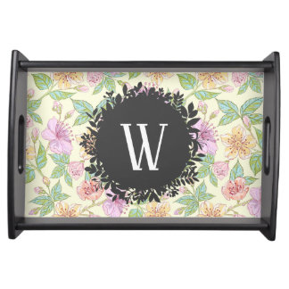 Sweet Soft Colored Spring Flowers with Monogram Serving Tray