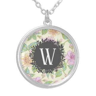 Sweet Soft Colored Spring Flowers with Monogram Silver Plated Necklace