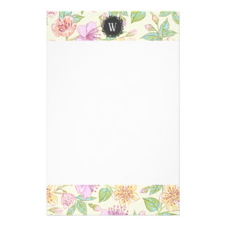 Sweet Soft Colored Spring Flowers with Monogram Stationery