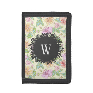 Sweet Soft Colored Spring Flowers with Monogram Tri-fold Wallet