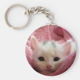 Sweet soft kitty basic round button key ring
