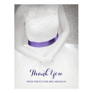Sweet Something Blue Sash Bridal Shower Thank You Postcard