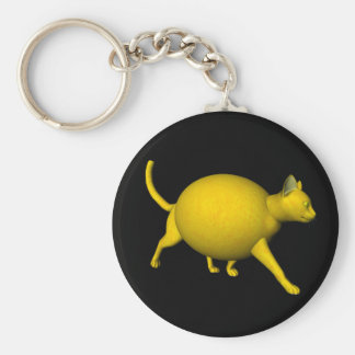 Sweet-Sour Lemon Cat Basic Round Button Key Ring