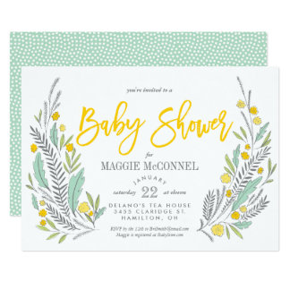 Sweet Sprigs Gender Neutral Baby Shower Card