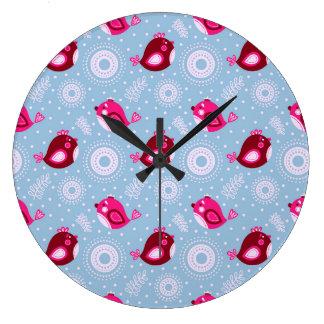 Sweet Spring Birds Large Clock