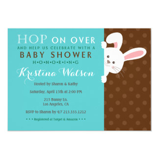 Sweet Spring Bunny Boy Baby Shower Invitation