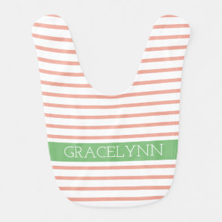 Sweet Spring Pink and White Stripes With Green Bib