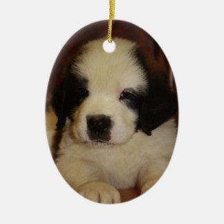 Sweet St. Bernard Puppy Ceramic Oval Decoration
