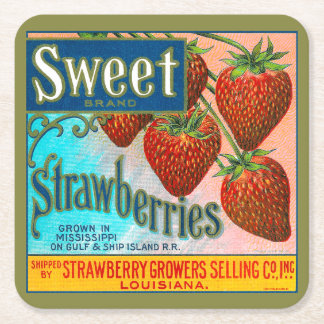 Sweet Strawberries Square Paper Coaster