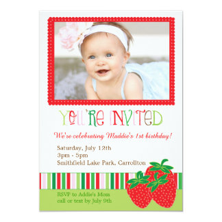 Sweet Strawberry Photo Invitation