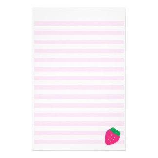 Sweet Strawberry Striped Stationery