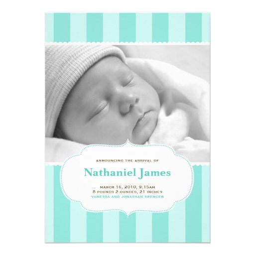 Sweet Stripes Birth Announcement in Blue