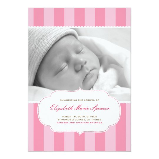 Sweet Stripes Birth Announcement in Pink