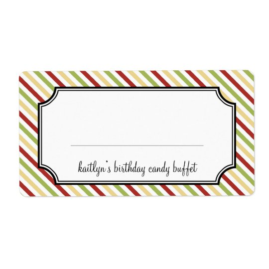 Sweet stripes candy buffet holiday shipping label
