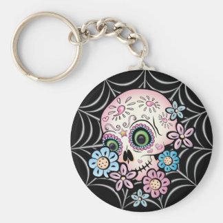 Sweet Sugar Skull Basic Round Button Key Ring