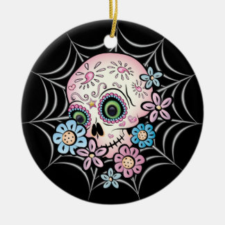 Sweet Sugar Skull Ceramic Ornament