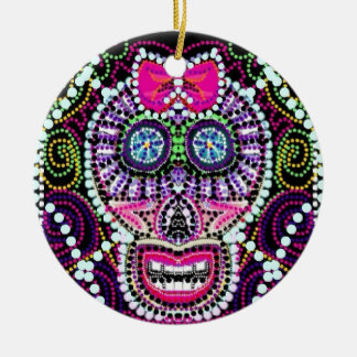 Sweet Sugar Skull With Pink Bow Ceramic Ornament