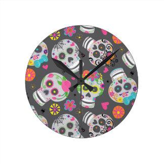 Sweet Sugar Skulls Wall Clock