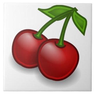 Sweet Summer Cherries Lrg Large Square Tile