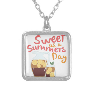 Sweet Summer Day Square Pendant Necklace