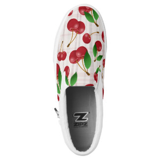 sweet summertime cherries on faded pastels plaid printed shoes