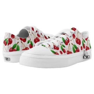 sweet summertime cherries on pastel plaid printed shoes