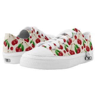 sweet summertime red cherries pattern printed shoes