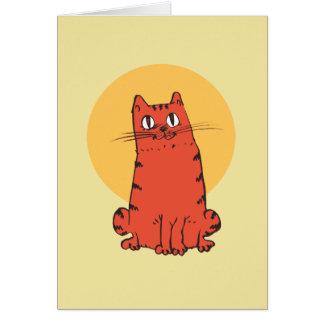 sweet tabby cat cartoon card