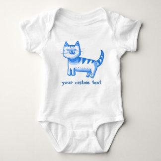 sweet tabby cat cartoon style customizable text baby bodysuit