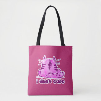 sweet tabby cat sitting on floor dont care cartoon tote bag