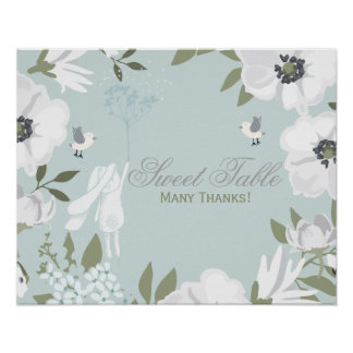 Sweet Table | Bunny Floral Wreath Boy Baby Shower Poster