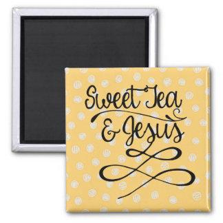 Sweet Tea & Jesus Square Magnet