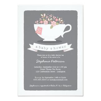 Sweet Teacup & Pink Floral Baby Shower Invitation