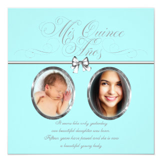"""Sweet Teal Blue Photo Quinceanera 5.25"""" Square Invitation Card"""